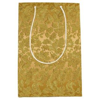Monochromatic Gold Vintage Floral Damasks Medium Gift Bag