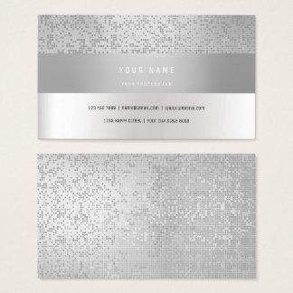 Monochromatic Gray Vip Stripes Confetti Silver Business Card