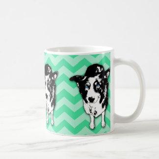 Monochromatic Green Chevron Border Collie Mug