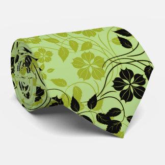 monochromatic green flower pattern neck tie