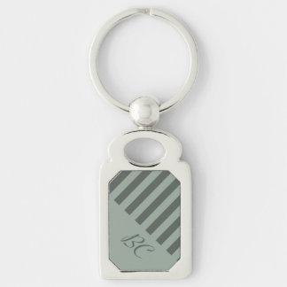 Monochromatic Jade Stripe Design Silver-Colored Rectangular Metal Keychain