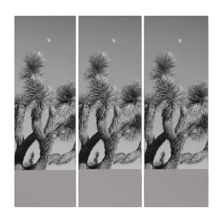 Monochromatic Joshua Tree And The Moon Triptych