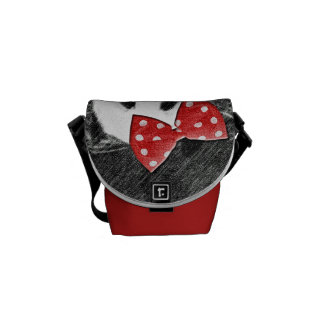 Monochromatic panda sketch with red bow messenger bag