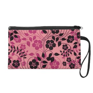 monochromatic pink and black flowers wristlet clutches