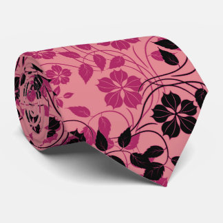 monochromatic pink flower pattern neck tie