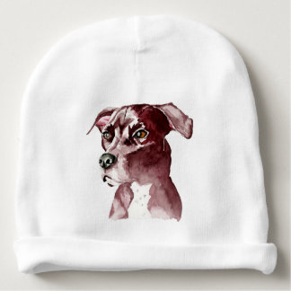 Monochromatic Pit Bull Dog Watercolor Painting Baby Beanie