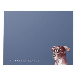 Monochromatic Pit Bull Dog Watercolor Painting Notepad