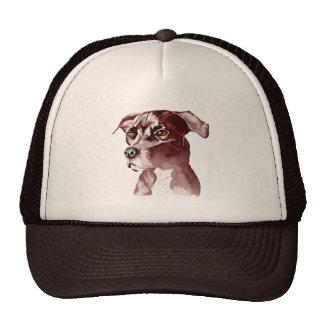 Monochromatic Pit Bull Dog Watercolor Painting Trucker Hat