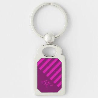 Monochromatic Purple Stripe Design Silver-Colored Rectangular Metal Keychain