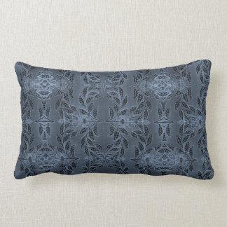 Monochromatic Teal Blue Floral Design Pillow