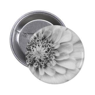 Monochromatic Zinnia Pinback Button