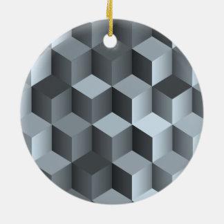 Monochrome 3D Cube Design Ceramic Ornament