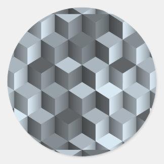 Monochrome 3D Cube Design Classic Round Sticker