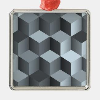 Monochrome 3D Cube Design Metal Ornament