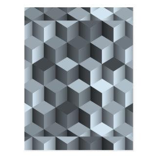 Monochrome 3D Cube Design Postcard