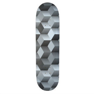 Monochrome 3D Cube Design Skateboard Deck