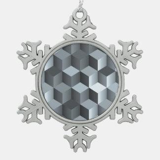Monochrome 3D Cube Design Snowflake Pewter Christmas Ornament