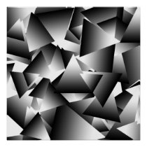 Monochrome Abstract Triangles Fashion Pattern Poster