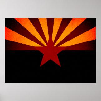 Monochrome Arizona Flag Poster