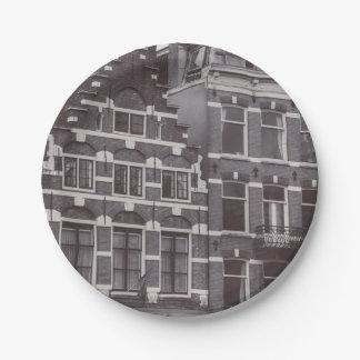 Monochrome Asmterdam Architecture Paper Plate