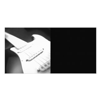 Monochrome B&W Electric Guitar Close-Up 1 Personalized Photo Card