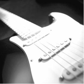 Monochrome B&W Electric Guitar Close-Up 1 Standing Photo Sculpture