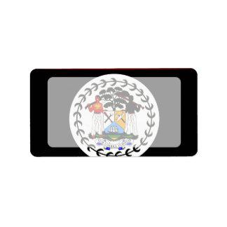 Monochrome Belize Flag Label