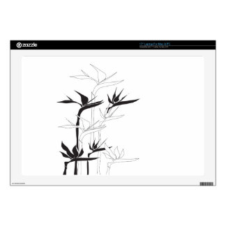 "Monochrome Bird of Paradise 17"" Laptop Decals"