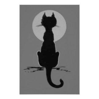 Monochrome Black And White Black Cat Full Moon Photo Print