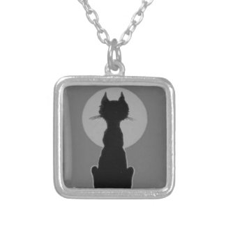 Monochrome Black And White Black Cat Full Moon Silver Plated Necklace