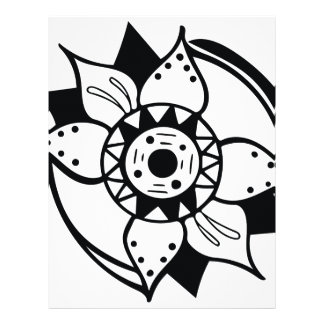Monochrome Black and White Flower Drawing Letterhead