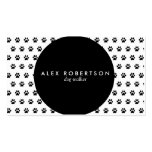 Monochrome black circle and white paw print business card