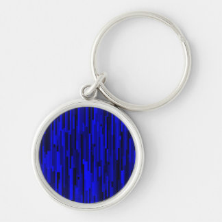 Monochrome Blue Rectangles Abstract Pattern Silver-Colored Round Keychain