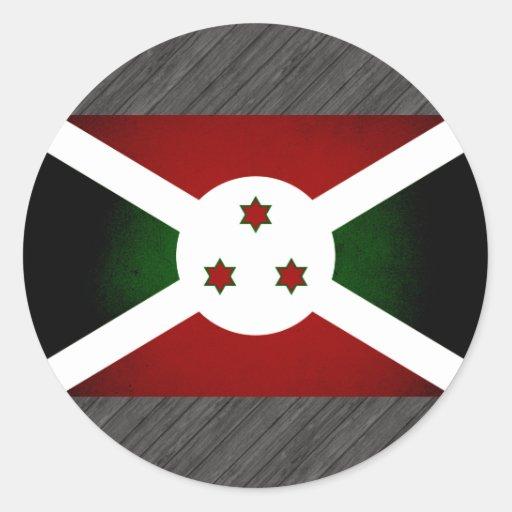 Monochrome Burundi Flag Round Sticker