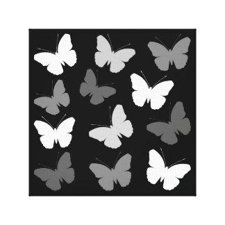 Monochrome Butterflies Design Canvas Print