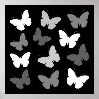 Monochrome Butterflies Design Poster