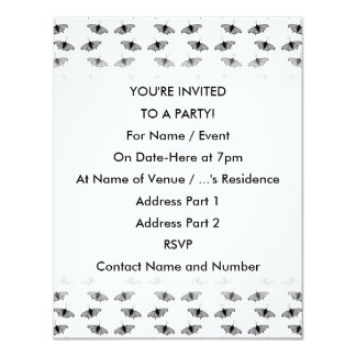 Monochrome Butterfly Pattern. 4.25x5.5 Paper Invitation Card
