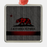 Monochrome California Flag Christmas Ornaments