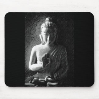 Monochrome Carved Buddha Mouse Pad