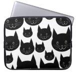 Monochrome Cat Design. Laptop Sleeves