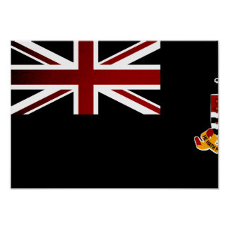 Monochrome Cayman Islands Flag Posters