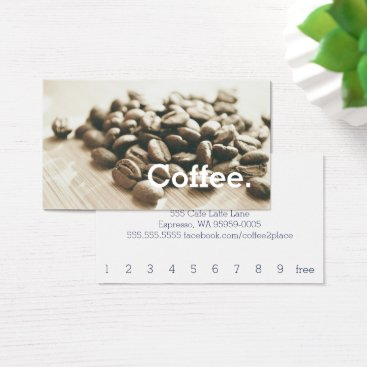 CoffeePunch Monochrome Coffee Beans Simple Loyalty Punch-Card Business Card