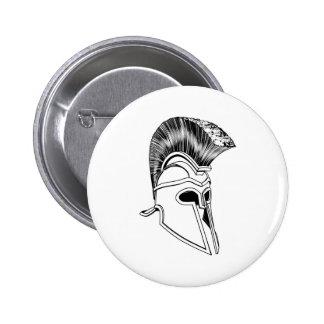 Monochrome Corinthian helmet Pinback Buttons