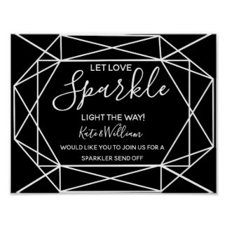 monochrome crystal geo sparkler send off wedding poster