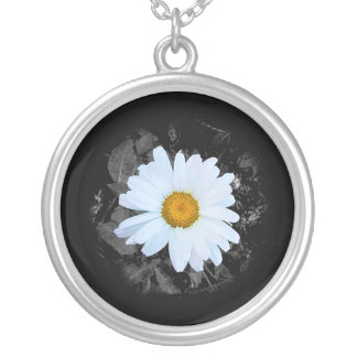 Monochrome Daisy Flower Silver Plated Necklace