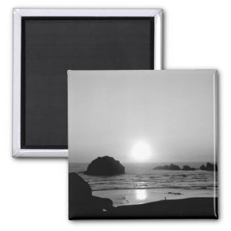 Monochrome Face Rock Sunset Oregon Coast Magnet