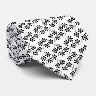 Monochrome Floral Pattern Tie