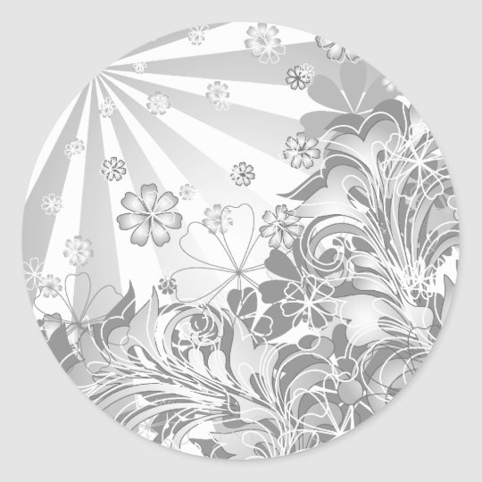 monochrome flowers classic round sticker