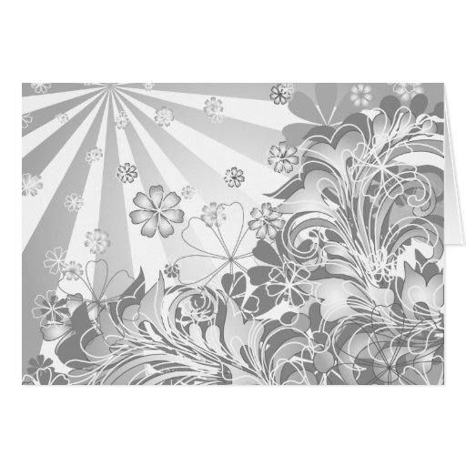 monochrome flowers greeting cards