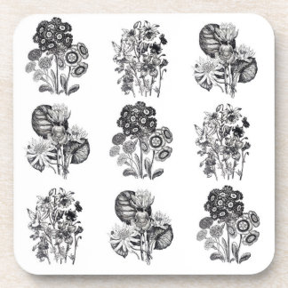 Monochrome flowers in black and white coaster